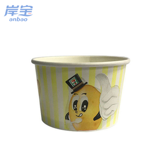 biodegradable LOGO printed 3oz ice cream paper cup with lid spoon