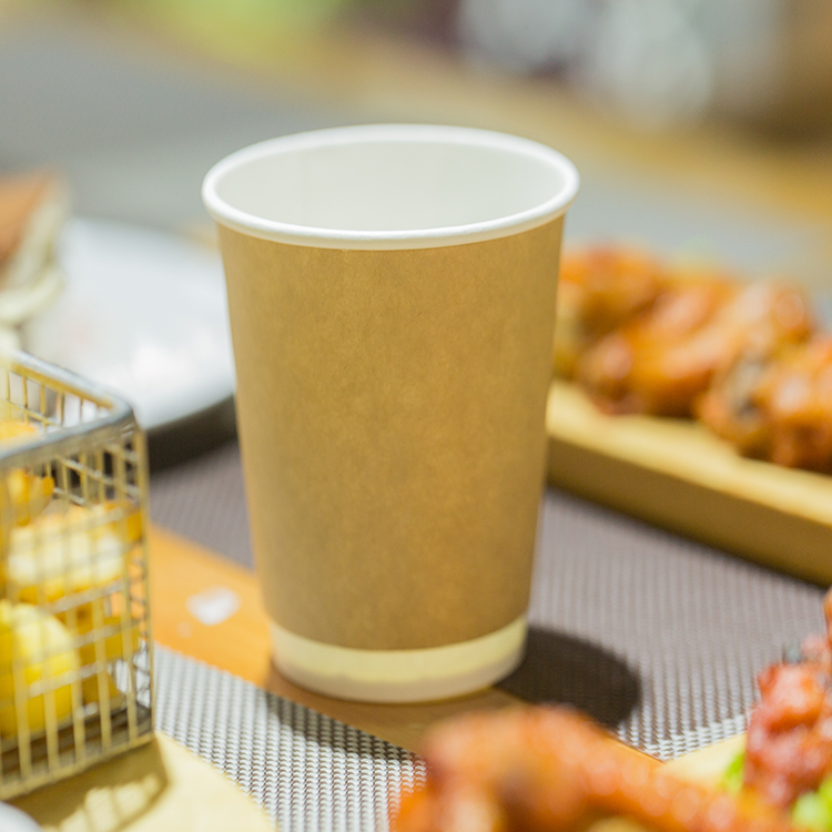 Kraft Paper Brown Double Wall Paper Coffee Cups With White Lid