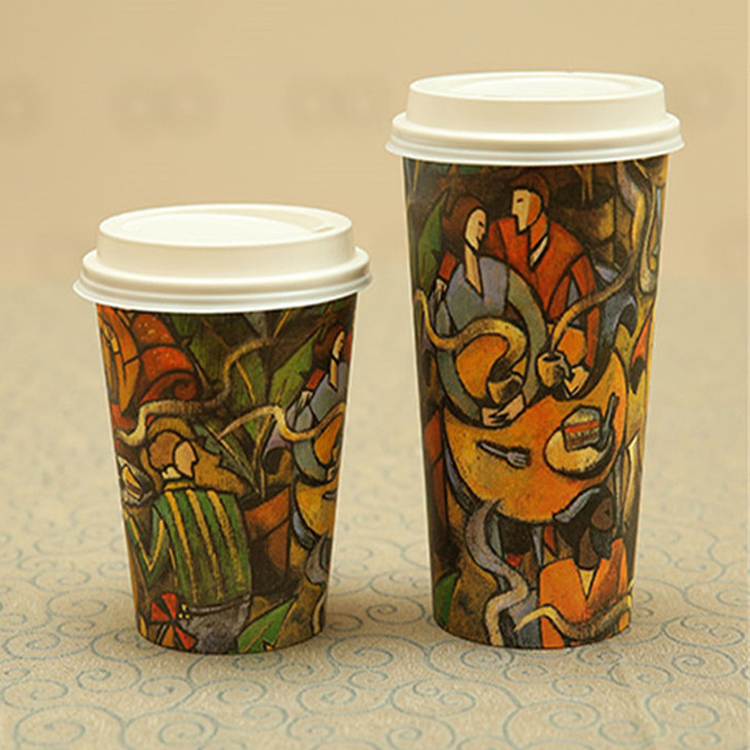Custom Logo Printed Takeout Coffee Paper Cups With Lids