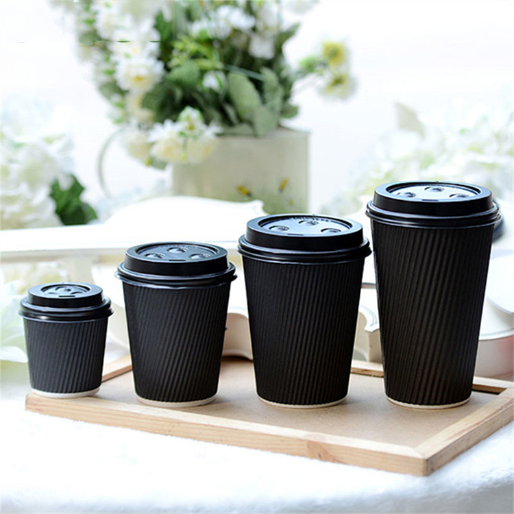 12oz black ripple paper cup