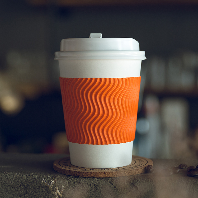 Custom Biodegradable Ripple Wall Paper Cup With Lid
