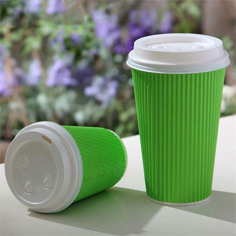 8/12/14/16OZ Disposable custom ripple wall coffee paper cup