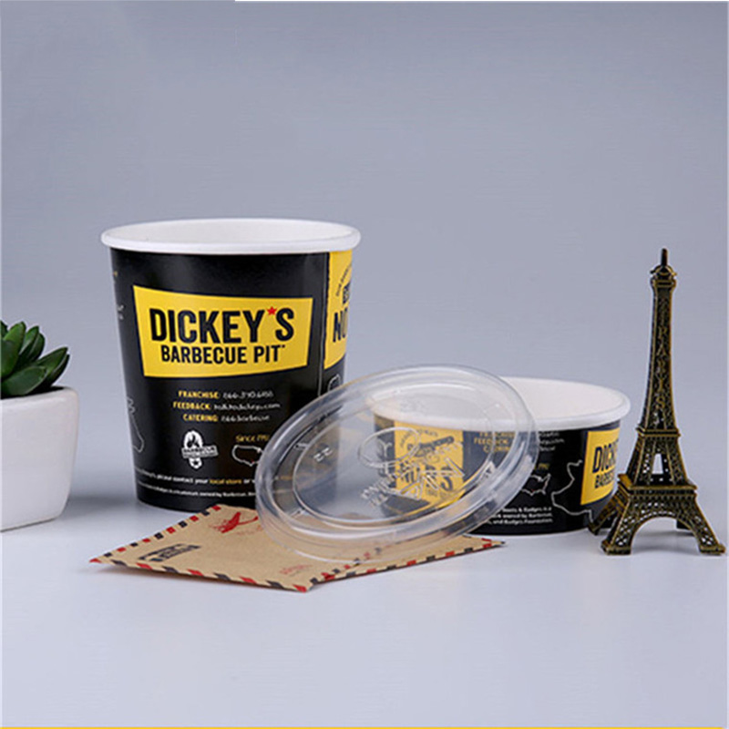Wholesale custom recycled disposable paper ice cream cup with lid