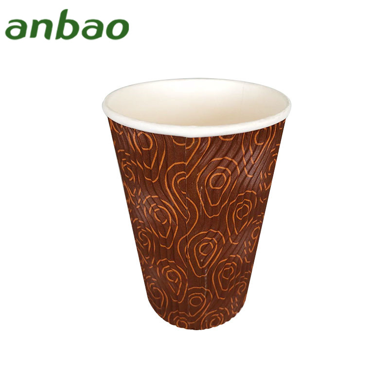 custom printed take away hot black coffee kraft paper cup with lid