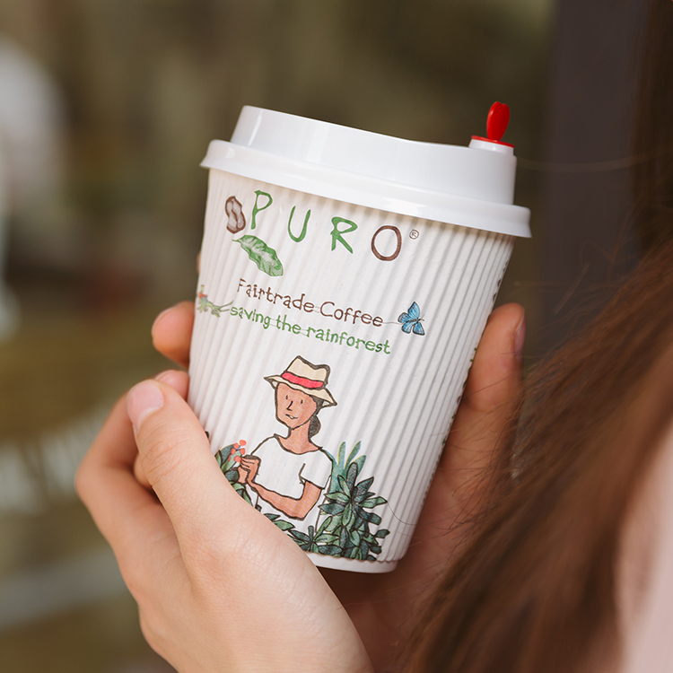 Double Wall Eco Friendly 8oz 12oz 16oz Ripple Wrap Paper Cup for Coffee
