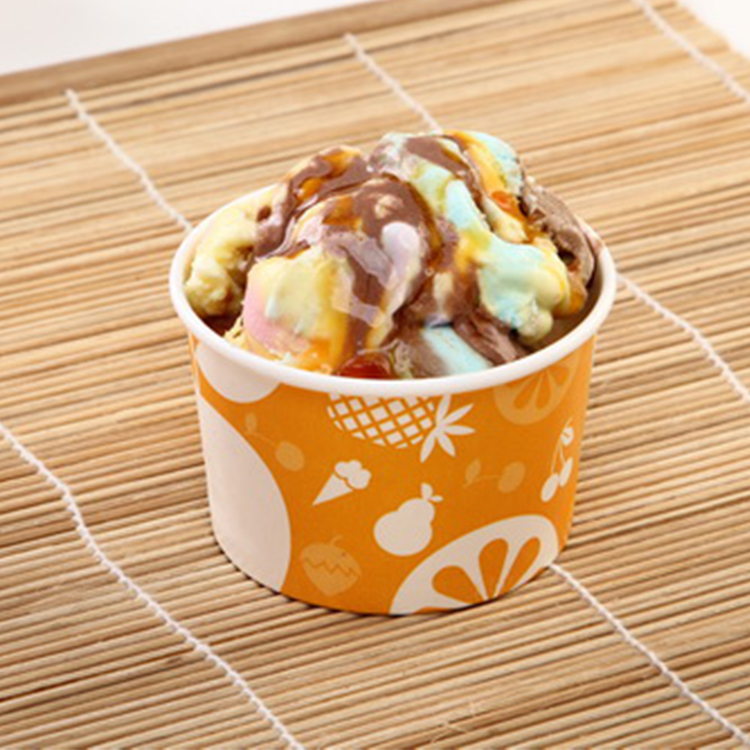 4oz 6oz 8oz 12oz Compostable Biodegradable Printed Paper Ice Cream Cup Ice Cream Paper Bowl With Lids