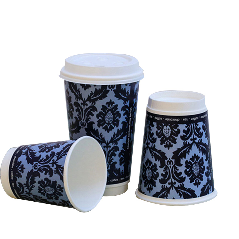 Patented double wall paper coffee cup with lid and sleeve